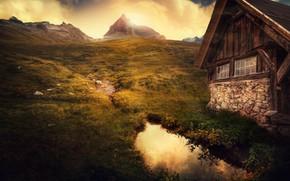 Wallpaper mountains, house, treatment