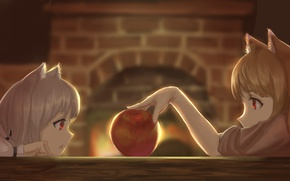 Picture table, Apple, fireplace, ears, spice and wolf, art, horo, spice and wolf, youzi3047, myuri