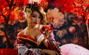 Wallpaper flower, decoration, umbrella, Japan, Asian