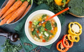 Picture soup, pepper, vegetables, carrots, The first dish