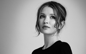 Wallpaper background, portrait, makeup, actress, hairstyle, black and white, beauty, photoshoot, Legend, InStyle, 2015, Emily Browning, ...