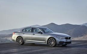 Picture the sky, asphalt, mountains, grey, BMW, sedan, 540i, 5, M Sport, four-door, 2017, 5-series, G30