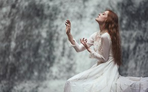 Picture water, girl, face, pose, background, mood, waterfall, hands, dress, profile, red, long-haired, graceful