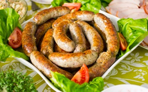 Picture tomatoes, salad, sausages