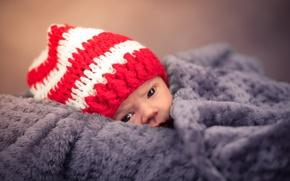 Picture look, baby, plaid, child, cap, newborn