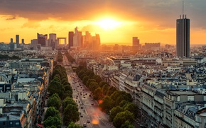 Wallpaper road, the sky, the sun, clouds, trees, dawn, transport, France, Paris, home, the view from ...