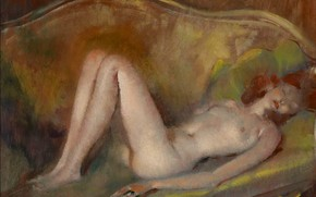 Picture chest, sofa, woman, red, Modern, Jean-Gabriel Domergue, Nude on the sofa