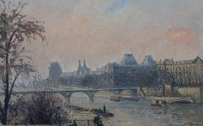 Wallpaper Camille Pissarro, river, The Seine and the Louvre, Paris, bridge, the urban landscape, picture