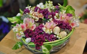 Picture basket, eggs, lilac, composition, Alstroemeria
