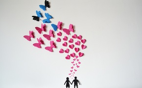 Picture butterfly, paper, hearts, love, origami, romantic, hearts