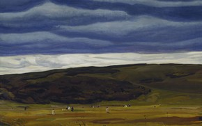Picture landscape, clouds, nature, hills, picture, Rockwell Kent, Rockwell Kent, Cranberrying. Monhegan