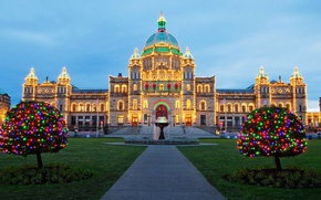 Wallpaper the building, Victoria, New Year, Canada, Christmas, Parliament, Christmas lights