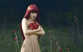 Picture girl, berries, strawberry, collection