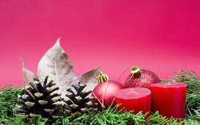 Picture branches, sheet, background, holiday, balls, toys, candles, red, New year, needles, bumps