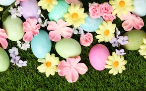 Picture grass, flowers, Easter, flowers, spring, Easter, eggs, decoration, Happy