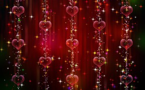 Picture red, background, hearts, Valentine's day