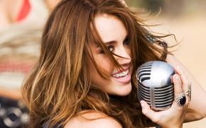 Wallpaper Music, microphone, Miley Cyrus, Miley Cyrus, Pop