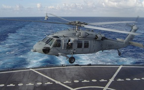 Picture helicopter, Seahawk, landing on the deck, MH-60S