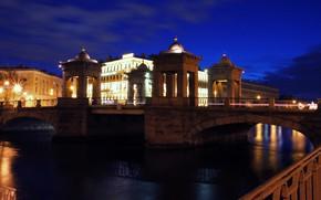 Picture backlight, Saint Petersburg, Fontanka, Lomonosov bridge