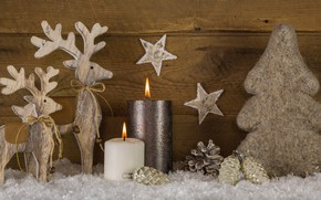 Picture decoration, tree, candles, New Year, Christmas, deer, happy, Christmas, vintage, wood, tree, New Year, Merry …