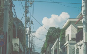 Picture the sky, clouds, posts, wire, home, Japan