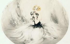 Wallpaper 3 Katenka, etching and aquatint, blonde, Louis Icart, 1925, art Deco, New we're friends