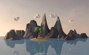 Wallpaper landscape, reflection, paper, low poly landscape