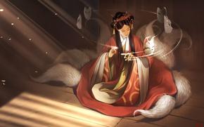 Picture girl, magic, mask, Fox, art, tails, kitsune, Alexander Khitrov, GaudiBuendia, fantasy