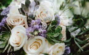 Picture flowers, roses, bouquet, earrings, wedding