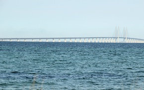 Picture sea, bridge, Strait, wave, waves, bridge, blue sky, Baltic, Baltika, Baltic, Baltic Sea, Oresund Bridge, ...