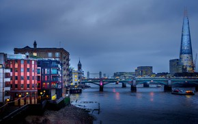 Picture bridge, river, England, London, tower, home