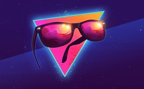 Picture girl, space, abstraction, face, glare, reflection, neon, glasses, 80s, triangle, neon, 80s neon style, Summer …