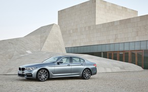 Picture the sky, grey, the building, BMW, Parking, architecture, sedan, 540i, 5, M Sport, four-door, 2017, …