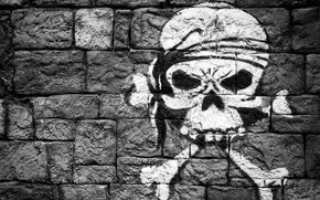 Picture wall, figure, skull, bones