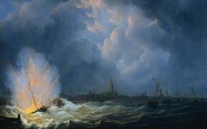 Wallpaper oil, picture, canvas, battle, The Martinus Schoeman, Explosion of Gunboat near Antwerp