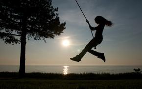 Picture sea, the sky, grass, girl, the sun, swing, tree, shore, horizon, silhouettes, rope, Victoria Justice, …