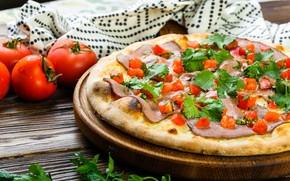 Picture greens, bacon, Pizza, Tomato