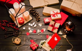 Picture holiday, candles, gifts, hearts, love, Valentine's day, holiday, candles, gifts