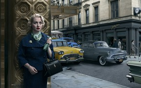 Picture auto, girl, the city, retro, Pontiac, New-York, Buick, Stories