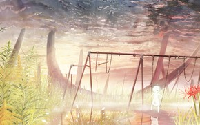 Picture the sky, water, nature, swing, girl, he lost his parents,