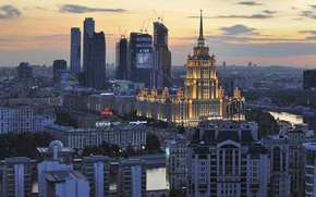 Picture river, building, panorama, Moscow, Russia, Dorogomilovo