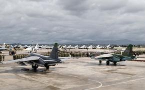 Wallpaper Su-25SM, aircraft, Videoconferencing Russia, Su-24M, Mi-8AMTSH, Syria, helicopters