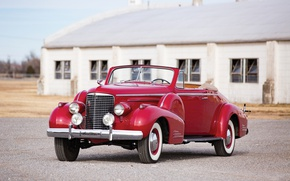 Picture retro, Cadillac, red, convertible, car, Convertible, V16, Coupe by Fleetwood