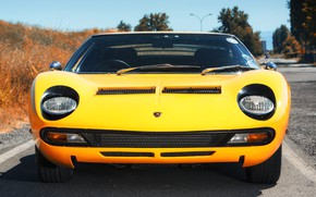 Picture Color, Auto, Lamborghini, Machine, Eyes, 1971, Lights, Car, Lamborghini, Supercar, The front, Lamborghini Miura, P400, …