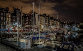 Picture night, France, home, yachts, boats, harbour, Normandy, Honfleur, the old port