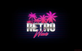 Picture Music, Neon, Palm trees, Background, The inscription, Electronic, Synthpop, Synth, Retrowave, Synth-pop, Sinti, Synthwave, Synth …