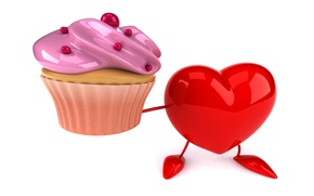 Picture heart, heart, cupcake, funny, rendering