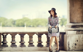 Picture pose, model, hat, actress, hairstyle, shoes, brown hair, bag, cloak, photoshoot, the parapet, bokeh, Lily …