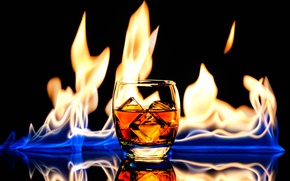 Picture glass, drink, whiskey, fire and ice