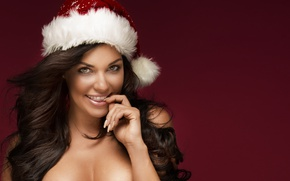 Wallpaper Christmas cap, New Year's Eve, brunette, Christmas